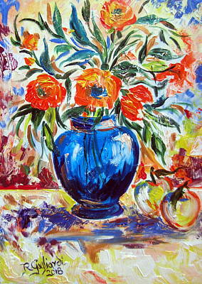 Painting - Blue Vase Flowers And Apples by Roberto Gagliardi