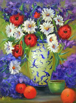 Painting - Blue Vase Flowers by Vicki VanDeBerghe