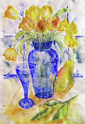 Art Print featuring the painting Blue Vase by Jasna Dragun