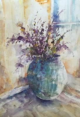 Painting - Blue Vase Of Lavender And Wildflowers Aka Vase Bleu Lavande Et Wildflowers  by Robin Miller-Bookhout