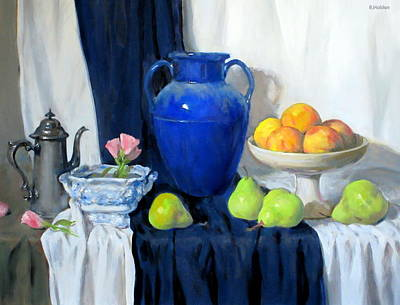 Painting - Blue Vase, Peaches, Pears, Lisianthus, Silver Coffeepot by Robert Holden