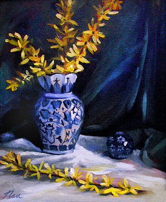 Painting - Blue Vase With Forsythia  by Nancy Griswold
