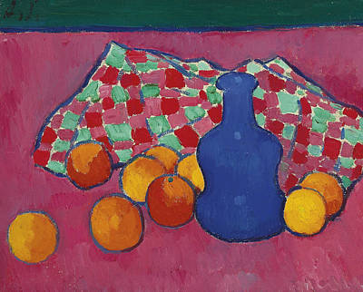 Painting - Blue Vase With Orange by Alexej von Jawlensky
