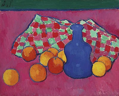 Cloth Painting - Blue Vase With Oranges by Alexej von Jawlensky
