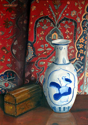 Painting - Blue Vase With Oriental Rug by Helen Albritton