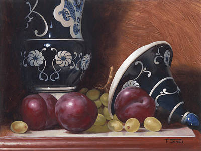 Old World Still Life Painting - Blue Vase With Plums by Timothy Jones