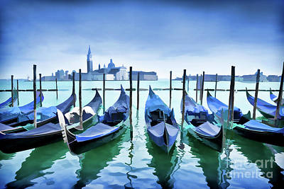 Fireworks Painting - Blue Venice by Delphimages Photo Creations
