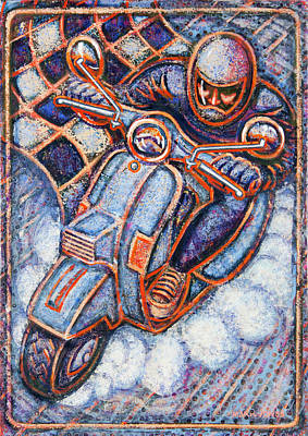Painting - Blue Vespa by Mark Howard Jones