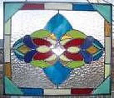 Glassart Glass Art - Blue Victorian by Liz Lowder