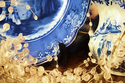 Painting - Blue Vintage Plate by Bonnie Bruno