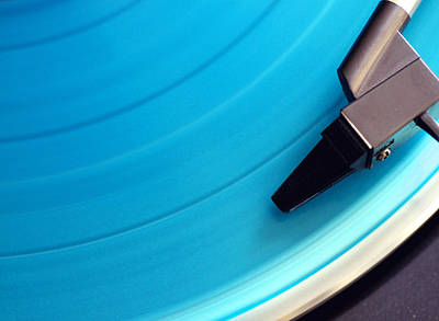 Part Of Photograph - Blue Vinyl Record by Erik T Witsoe