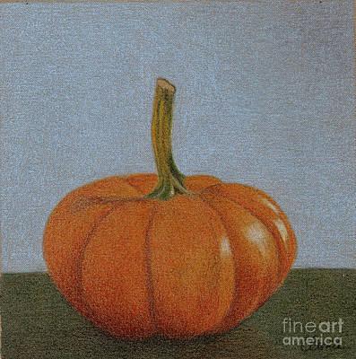Painting - Blue Wall Pumpkin by Carol Bond Art