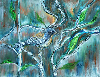 Painting - Blue Warbler In Birch by Lucille Valentino