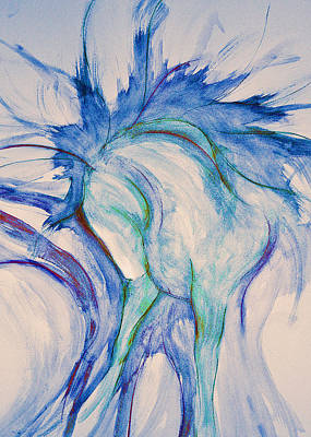Sporthorse Mixed Media - Blue Warrior by Jennifer Fosgate