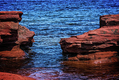 Photograph - Blue Water Between Red Stone by Chris Bordeleau
