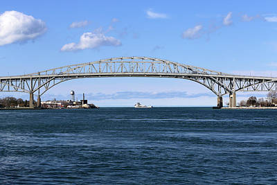 Photograph - Blue Water Bridge And Approaching Freighter by Mary Bedy