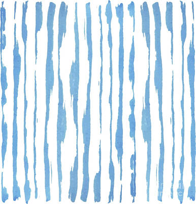 Mixed Media - Blue Water Color Stripes Handpainted by Heinz G Mielke