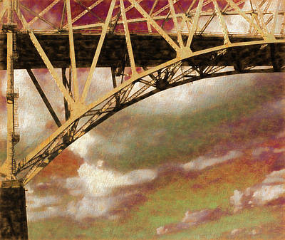Photograph - Blue Water Girders Red Sky by Mary Bedy