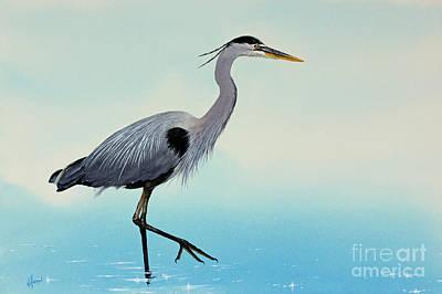 Artist James Williamson Great Blue Heron Painting - Blue Water Heron by James Williamson