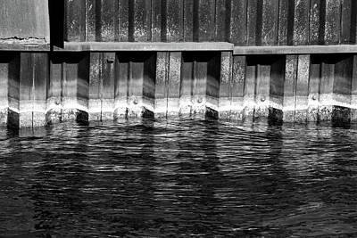 Photograph - Blue Water Retaining Wall 2 Bw by Mary Bedy