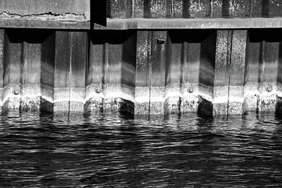 Photograph - Blue Water Retaining Wall 4 Bw by Mary Bedy