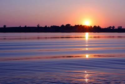 Blue Water Sunset Art Print by Jim  Darnall
