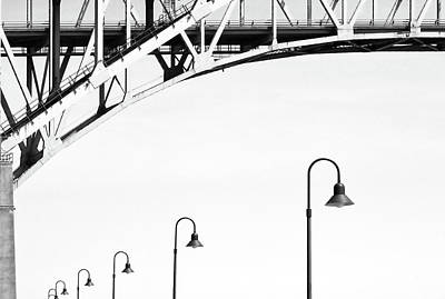 Photograph - Blue Water W Street Lamps High Contrast by Mary Bedy