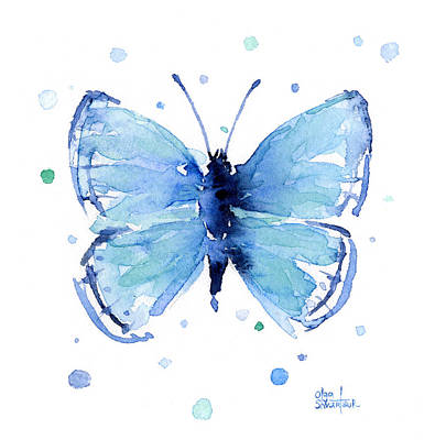 Blue Watercolor Butterfly Print by Olga Shvartsur