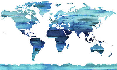 Painting - Blue Watercolor Earth World Map by Irina Sztukowski