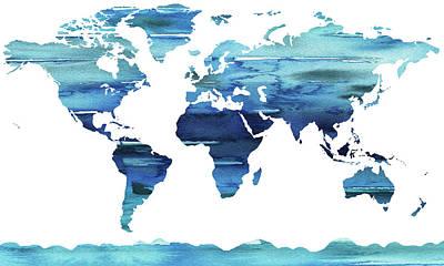 Painting - Blue Watercolor Earth World Map by Irina Sztukowski