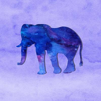 Painting - Blue Watercolor Elephant  by Modern Art