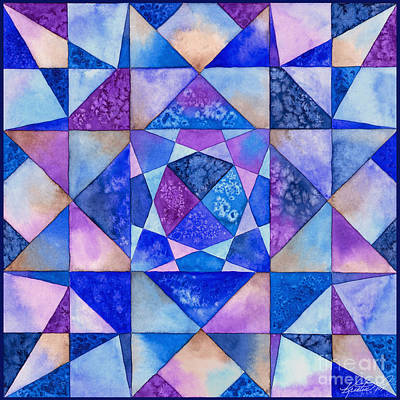 Painting - Blue Watercolor Quilt by Kristen Fox