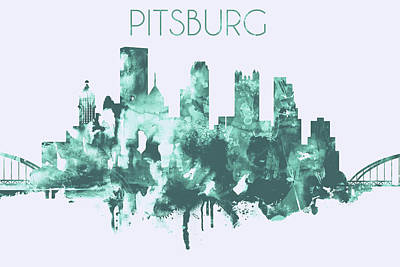 Skyline Painting - Blue Watercolor Skyline Of Pittsburgh by Dim Dom