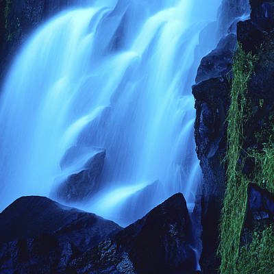 Blue Waterfall Print by Bernard Jaubert