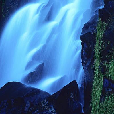 Transparency Photograph - Blue Waterfall by Bernard Jaubert
