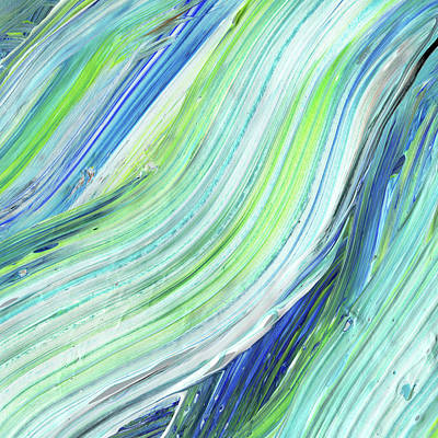 Painting - Blue Wave Abstract Art For Interior Decor Iv by Irina Sztukowski