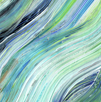 Painting - Blue Wave Abstract Art For Interior Decor V by Irina Sztukowski