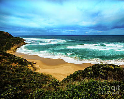 Photograph - Blue Wave Beach by Perry Webster