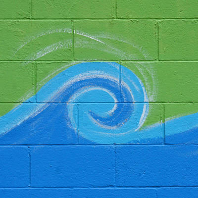 Rendition Photograph - Blue Wave On Green by Art Block Collections