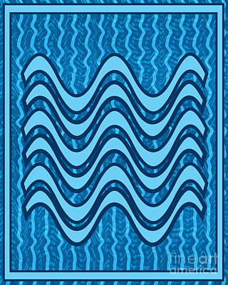 Painting - Blue Wave Over Wave Pattern On Gifts Shirts Pillows Tote Bags Phone Cases Shower Curtains Duvet Cove by Navin Joshi