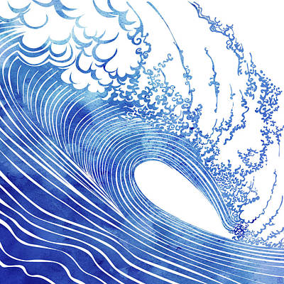 Waves Mixed Media - Blue Wave by Stevyn Llewellyn