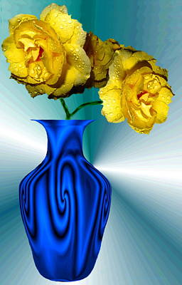 Photograph - Blue Wave Vase And Yellow Roses by Joyce Dickens