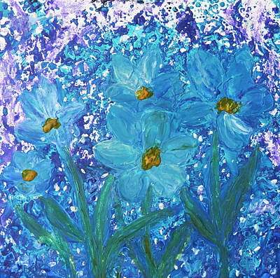 Painting - Blue Wax Floral by Patricia Beebe