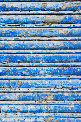 Metallic Sheets Photograph - Blue Weathered Metal  by Tom Gowanlock
