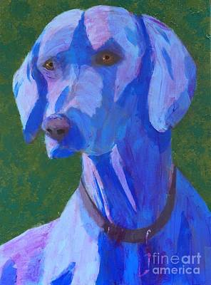 Art Print featuring the painting Blue Weimaraner by Donald J Ryker III
