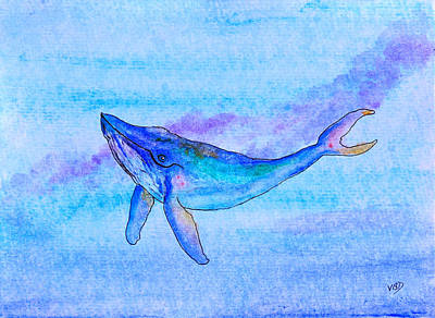 Whale Mixed Media - Blue Whale by Victoria Davidson
