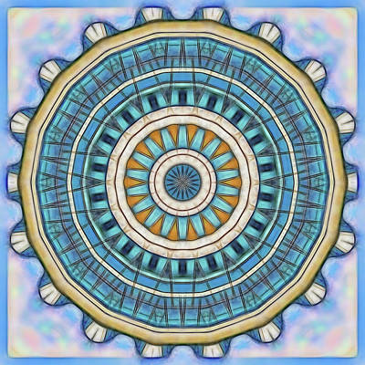 Art Print featuring the digital art Blue Wheeler 1 by Wendy J St Christopher
