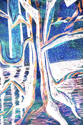 Painting - Blue-white Full Moon River Tree by Gecko Joy