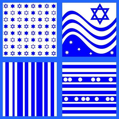 Hexagram Digital Art - Blue White  by Lenka Rottova