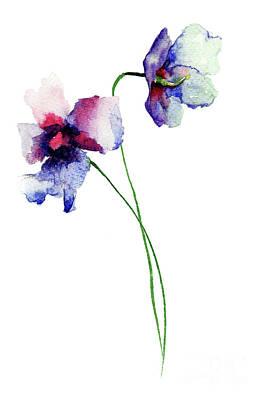 Painting - Blue Wild Flowers by Regina Jershova